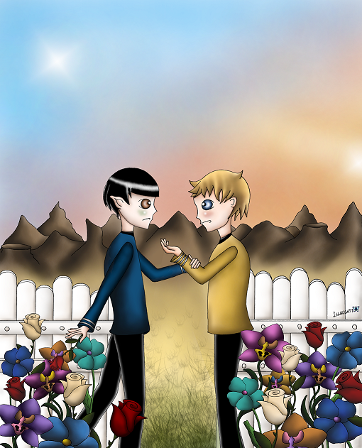 "I have to admit that I don't enjoy TOS/AOS fanfictions anymore without Bones being one part of a ship. Still, I wanted to finish this work which I started during summer when I loved K/S so very much for a way too short time and so I did. The outlines are inspired by ""Spice"", my favorite TOS K/S fanfiction, written by eimeo. It's no one-to-one fanart though, the clothes, flowers (it was Amandas garden in THAT significant scene on Vulcan) are different and even the universe (too bad I can't stand this pairing in the OU anymore q.q). However, thank you for writing such an intense story with depths, melancholic elements and realistic storyline. I felt miserable for them the first 1000 pages, but the last 300 one were very rewarding."