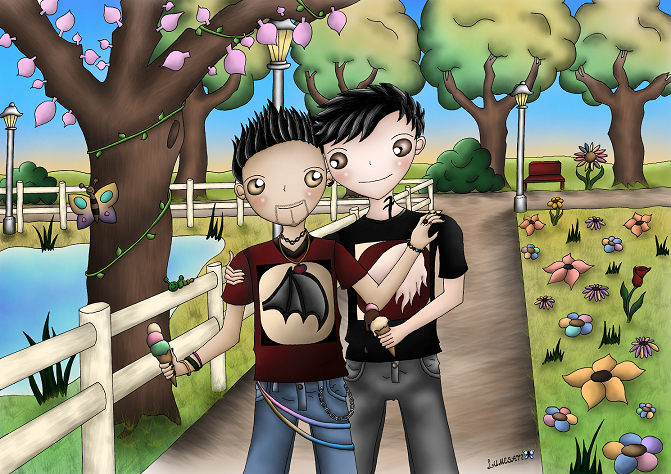 I participated in a doing a secret Santa art competition this year. The person whom I got assigned to, had among several wishes Malec as a main topic, a daily life environment, seasons (I chose spring), and bright colours. I hope she'll like it.