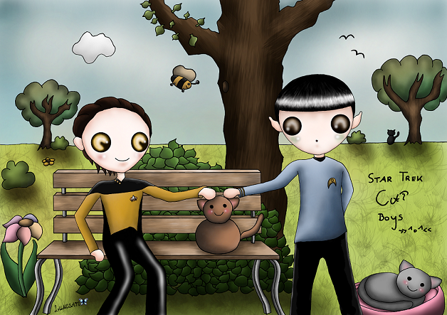 """""""Quite a lovely animal, Captain. I find myself strangely drawn to it."""" - Spock (Assignment: Earth) / """"Spot! ...I'm very happy to see you, Spot. [...] I am happy to see Spot, and yet I am crying."""" - Data (Generations) ~ Star Trek """"Crossover"""" 1~ Or what popped up in my mind when I saw my """"not emotional"""" boys interacting with a cat. Glad I finally finished this already one-year-old WIP."""