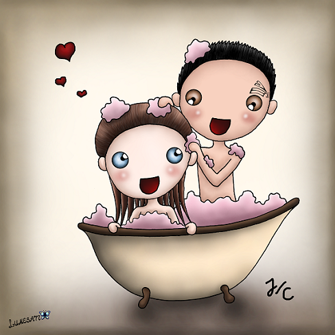 """2nd pairing: JC~ I finally watched """"Resolutions"""". So far, it's the most beautiful VOY episode I've seen and such a heartbreaking one. It's so sad that they have to wait so many more years (six or seven I think?) until Beyerverse gives them their happy end they so much deserve. . I think I kinda drew them cute enough to go without a complex background. Nevertheless, I also want to share my first 'New Earth' like version with you. But when they finally can be together, the place won't matter at all anyways."""
