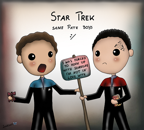 """""""It happened to you too? I know how you feel..."""" - Julian Bashir / """"..."""" - Chakotay - Star Trek """"Crossover"""" 2 ~ Or what popped up in my mind when I learned about how Chakotay/7 became canon in what feels like the same unrealistic way Julian/Ezri did, both in the very last episode of VOY/DS9. For me, these two are the most endearing boys from the Star Trek universe having such heartwarming smiles btw.  JC deserved better. Garashir deserved better too."""