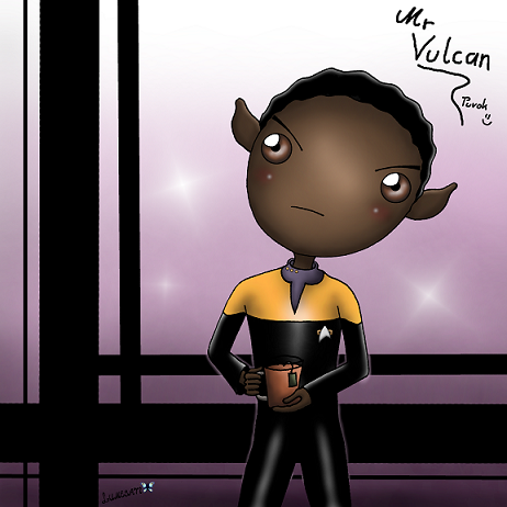 """I could use some of his logic right now, being a little too emotional these days~. """"You've never brought me tea."""" - Janeway to Tuvok in 'Flashback. Being the most dedicated coffee drinker in the delta and alpha quadrant together, doing so would be highly illogical, is what Tuvok thinks. I am sure of it."""