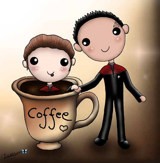 """""""A-koo-chee-moy-a, I love two things in this universe: coffee and Chakotay."""" - Kathryn Janeway"""